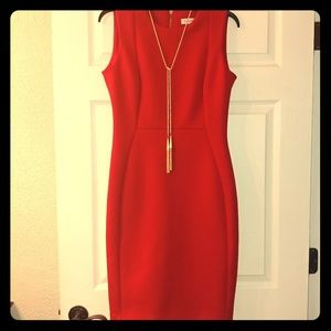 Calvin Klein Scuba Crepe Sheath Dress Red Size 8